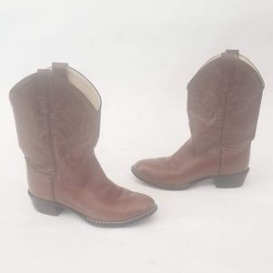 Old West Brown leather Western Boots Size 4.5 Kids